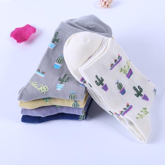 [COSPLACOOL] Новый Завод Кактус pattern женщины/девушка носки удобные прекрасные милые носки хлопок Повседневная Теплый Calcetines Chaussette сокс