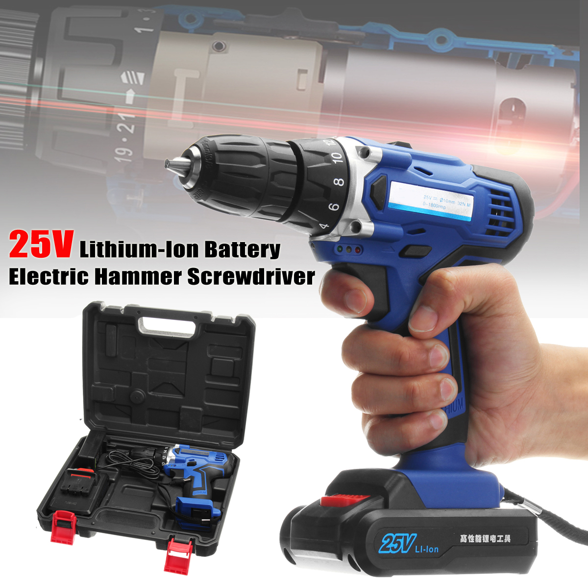 25V Lithium-Ion Battery Power Drill Driver Rechargeable Cordless Drill Electric Hammer Screwdriver Power Tools 18v dc lithium ion battery cordless drill driver power tools screwdriver electric drill with battery included