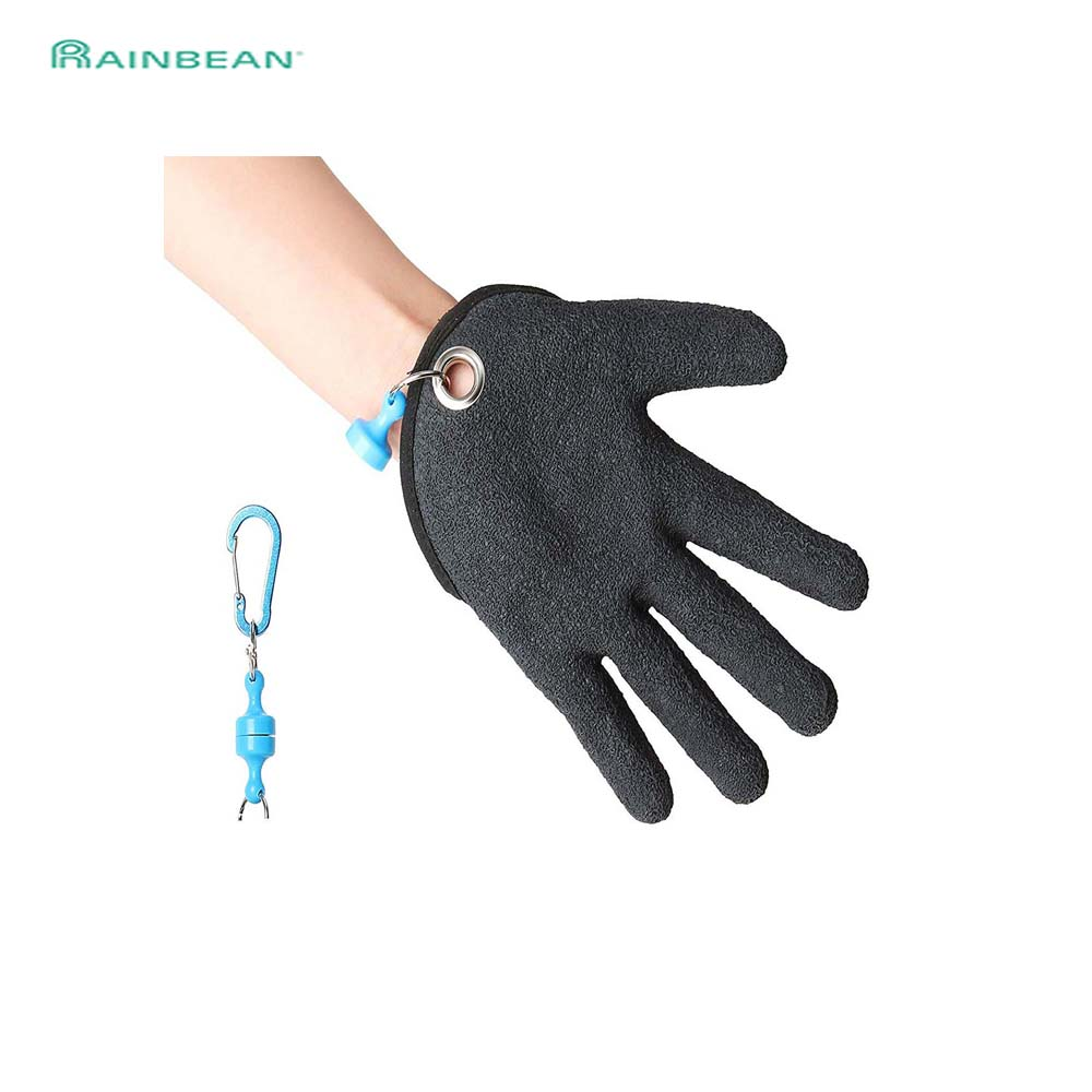 Booms Fishing Free Hands Fishing Gloves Waterproof Anti-Slip Full Finger Glove For Grip Handing Fish Safety With Magnet