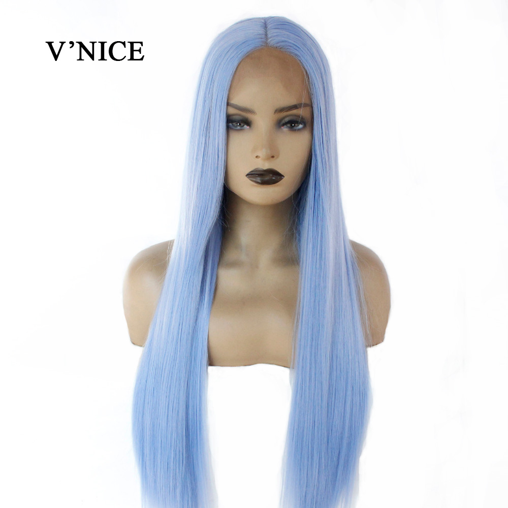 V NICE Middle Part Light Blue Hair Straight Synthetic Lace Front Wig Long Natural Glueless Heat