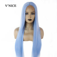 V'NICE Middle Part Light Blue Hair Straight Synthetic Lace Front Wig Long Natural Glueless Heat Resistant Fiber Wigs for Women
