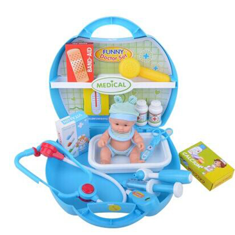 Children Girls Suitcases Medical Equipment Kit Box And Doll Set For Pets Kids Classic Pretend Play Doctor Toys Infantil A093
