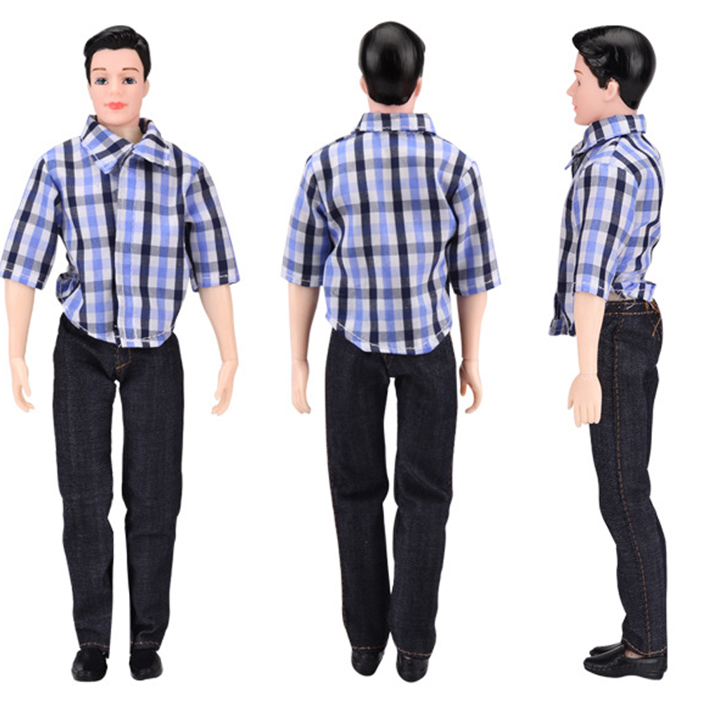 002007301 NK مجموعة واحدة الأمير ملابس دمى اليدوية لباس غير رسمي منقوشة بلوزة  السراويل ل دمية كين