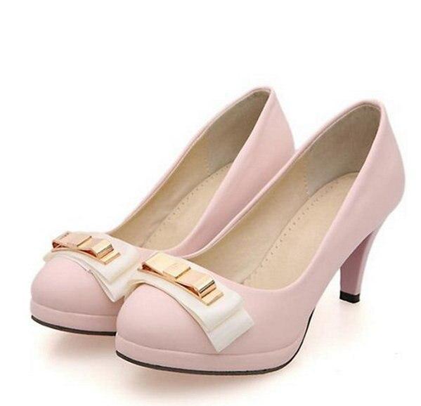 94d6e990305 2017 Nueva Marca Zapatos de Plataforma Mujer Tacones Altos Bombas Talón  Fino de Las Mujeres Zapatos de Plataforma Punta Redonda Zapatos De Boda  Bowtie ...