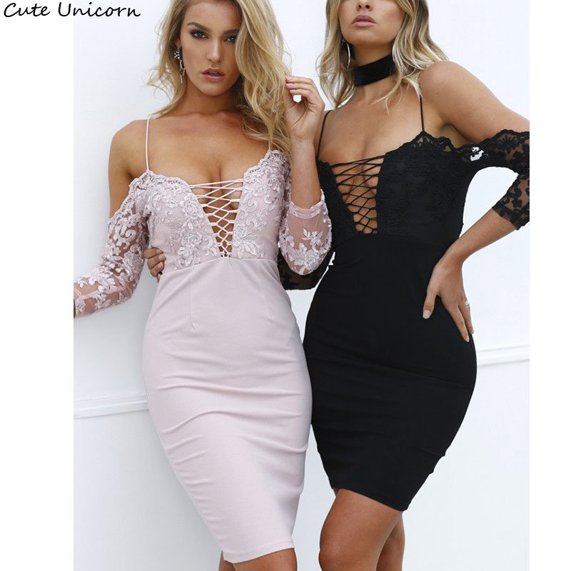Good quality half sleeve Dress 2018 pink black Sexy Women bandage slit Dresses off shoulder Lace Dress strap Ballgowns Vestidos