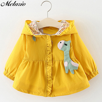 Melario   Baby     Outerwear  &Coats Spring autumn New cute Cartoon fawn hooded   Baby   Girls Clothes Infant   Outerwear   0-24M trench coat