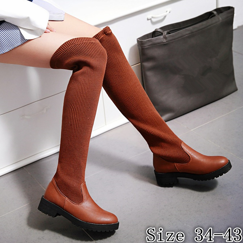 Spring Autumn Winter Flat Women Over the Knee Boots Woman Thigh High Boots Shoes botas High Quality Plus Size 34-40.41.42.43