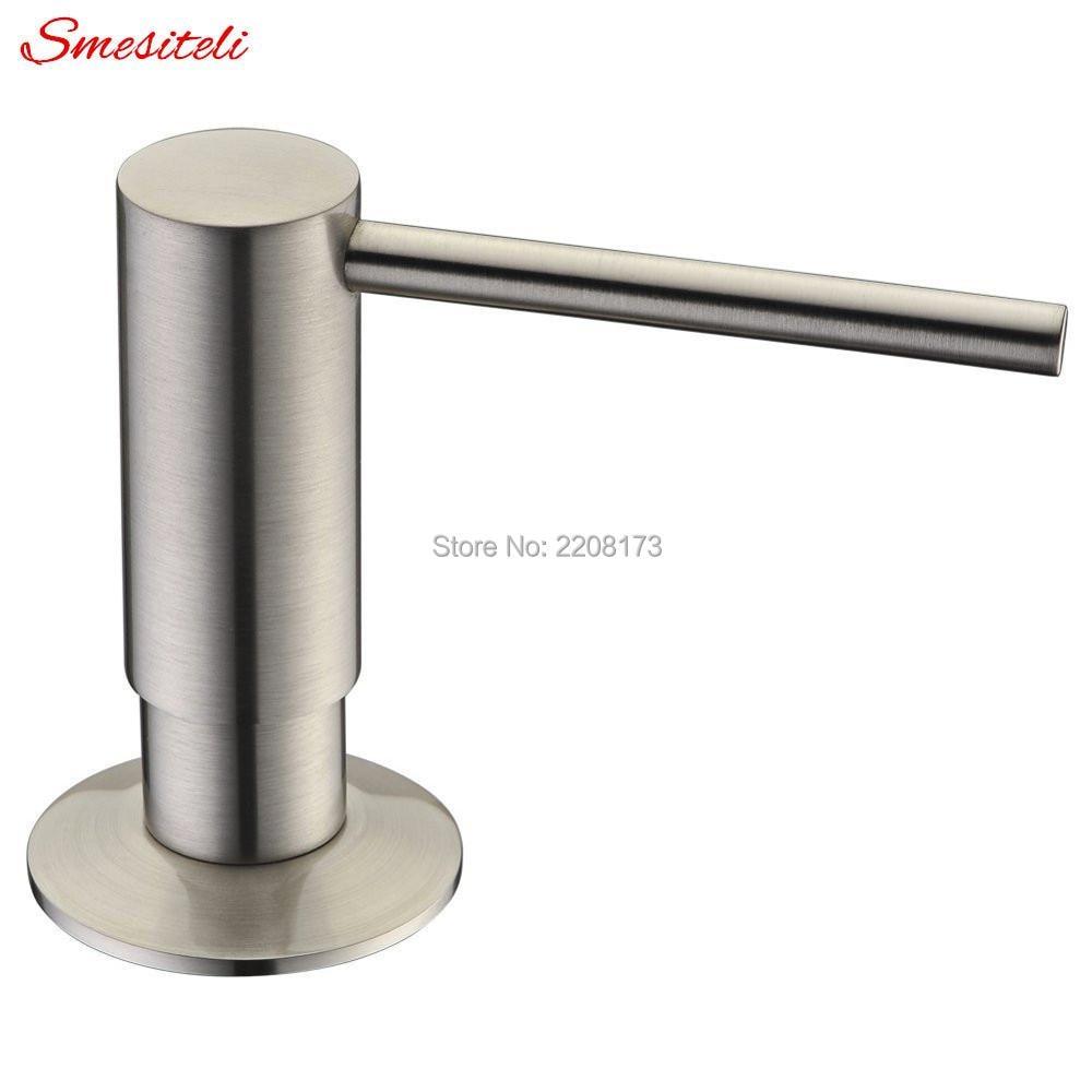 Built In Solid Brass Kitchen Soap Dispenser Smeslteli Design Easy Installation - Well Built and Brushed Nickel Sturdy
