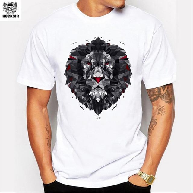 b2c378f9 Rocksir brand+2017 men's fashion trend in oil painting the lion logo printed  t-shirts Dark geometric lion t-shirts. Price: US ...