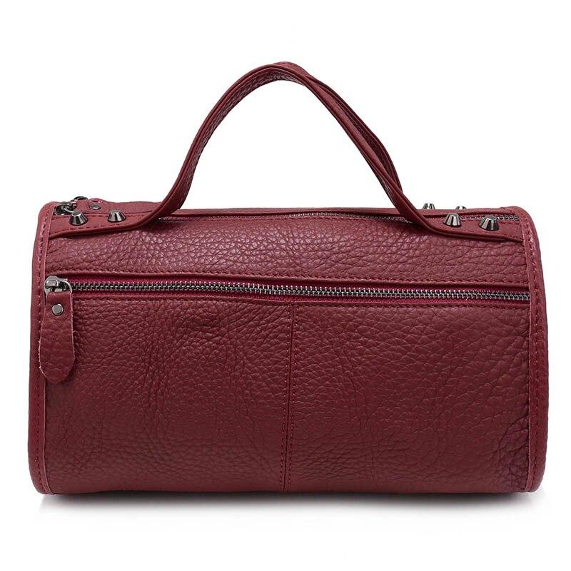 10db15dbf2 Nuleez Blue Red Purple Vintage Boston Women Handbag Ladies Genuine Leather  Crossbody Bag Zipper Shop Online