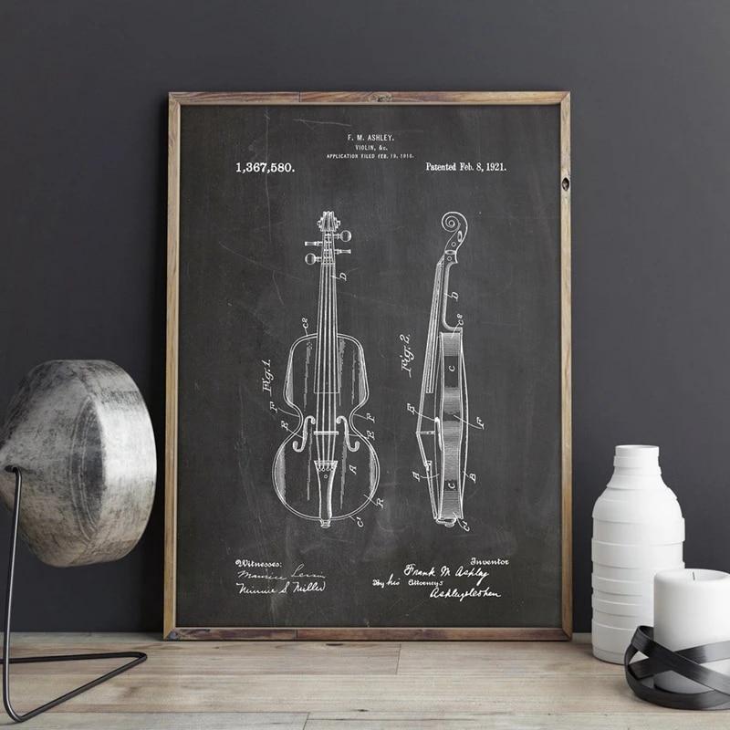 1921 Violin Music Patent Poster Blueprint Home Decor ...