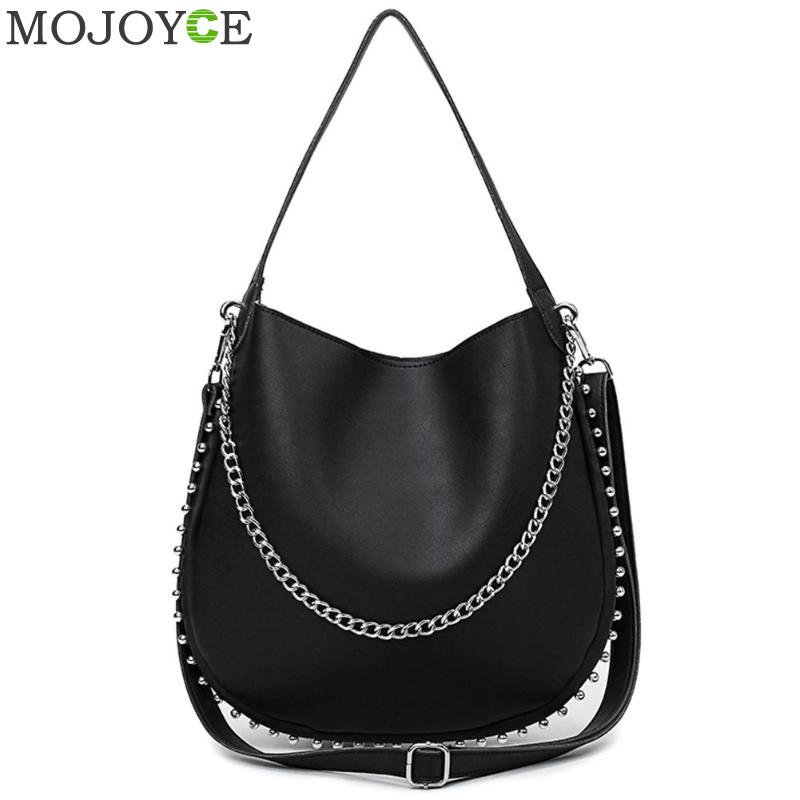 Punk Women Crossbody Bags Rivets PU Shoulder Bag Stella Silver Chains Bolso Socialite Large Capacity Tote Sac A Main Lady Torba stylish chains and rivets design women s tote bag