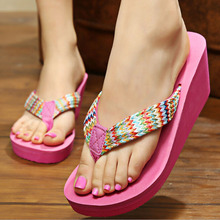 Beach slippers Female summer shoes sandals woven flip flops women sandals wedges summer shoes z116