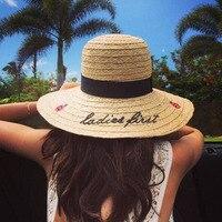 Summer Women Sun Hat Ladies Wide Brim Ladybird Letter Straw Hats Outdoor Beach Panama Hats Church