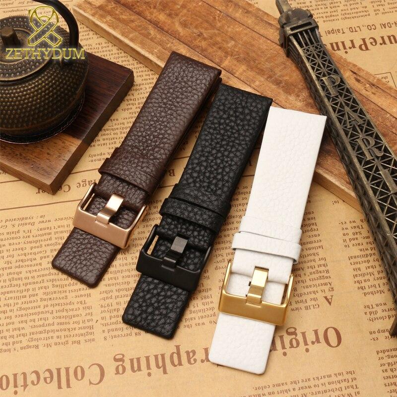 Bracelet en cuir véritable 22 24 26 27 28 30mm bracelet pour montre diesel bracelet montres bracelet DZ4323 DZ1657 DZ1405 bracelet de montre
