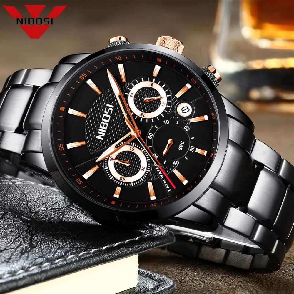 NIBOSI 腕時計男性ステンレスクォーツ腕時計ミリタリークロノグラフ時計男性ファッションスポーツウォッチ防水レロジオ Masculino