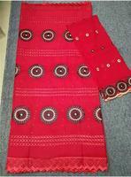 Африканский хлопок вуаль кружевной ткани красный швейцарские кружева ткань из Дубая 100% хлопок сухие кружева 5 + 2 ярдов/партия HLM 56