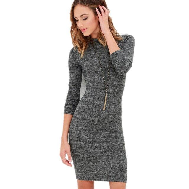 63d53b711f8ee2 Europa en de Verenigde Staten nieuwe vrouwen hoge kraag lange mouwen strak  pakket heup jurk herfst