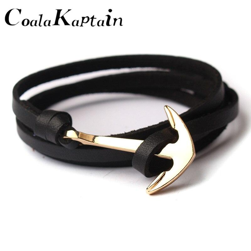 2018 New 18 Color Gold Alloy Hooks Bangles Multilayer Black Leathers Men Bracelets Fashion Vintage Anchor Bracelet For Women