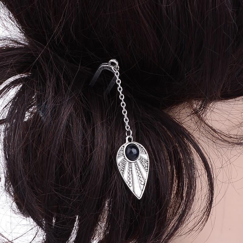 New Design Silver Color Leaf Shape Black Stone Pendant Hair Sticks Fashion Vintage Elegant Head Wear Hair Accessories Jewelry