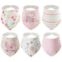 Discoball 6 PCS Lovely Infant Baby And Toddler Bandana Drool Bibs Super Absorbent Pure Girls Cotton