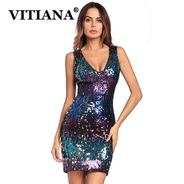 3d78ee69239 VITIANA Women Sexy Party Dress Summer 2019 Female Sequins Sleeveless Deep  V-neek Clubwear Mini Dresses Ladies Elegant Vestidos
