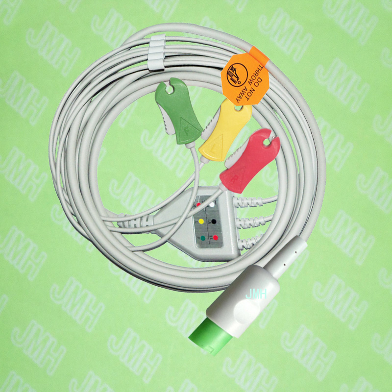 Compatible with 10pin Hellige ECG Machine the one-piece 3 lead cable and clip leadwire,IEC or AHA.Compatible with 10pin Hellige ECG Machine the one-piece 3 lead cable and clip leadwire,IEC or AHA.