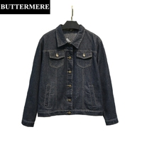 BUTTERMERE Brand Tiger Embroidered Denim Jackets For Women 4XL Plus Size Jean Coat Female Spring Autumn