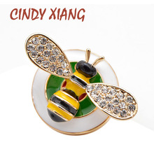 CINDY XIANG Cute Rhinestone Bee Collar Brooch Unisex Women And Men Enamel Badges Fashion Jewelry Insect Kids Gift