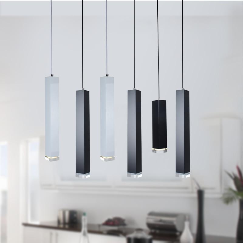 Modern Bar LED Pendant Light Black White Brief Column Aluminum Tube Pendant Lamp Kitchen Dining Room Decoration Lighting Fixture