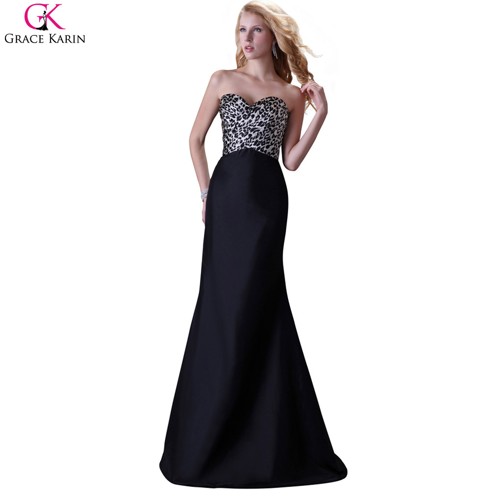 formal dresses for wedding cheap grace karin strapless black leopard print robe 4317