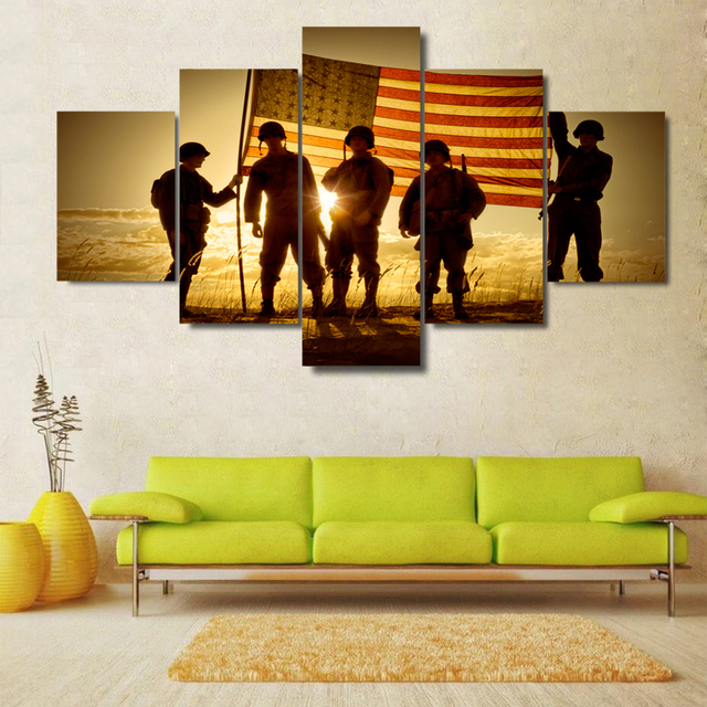 5 Pieces Silhouette Of Soldiers With American Flag Photos Home Wall ...