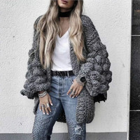 Autumn Coarse Wool Hook Sweater hand knitted Cardigan V Neck Loose Rough wool Knitted Lantern Sleeved jacket Open Stitch Tops