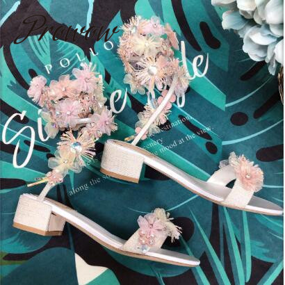 Prowow New Fashion Pearl Floral Summer Sandals Open Toe Slip On Thick Heel Party Dress Sandals Shoes  WomenProwow New Fashion Pearl Floral Summer Sandals Open Toe Slip On Thick Heel Party Dress Sandals Shoes  Women