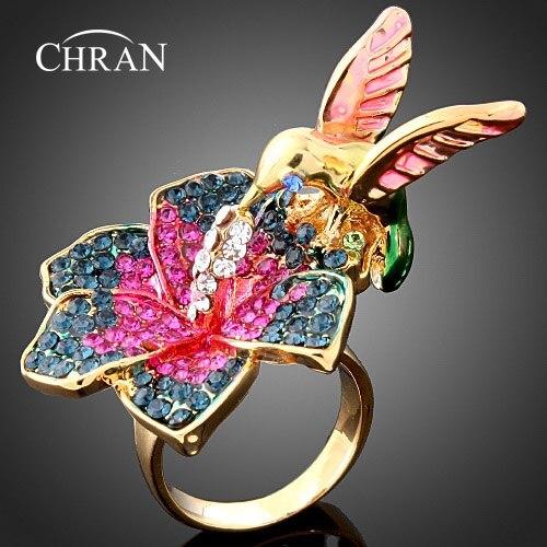 Chran мода животных Дизайн эмаль птица Свадебные Кольца для Для женщин Продвижение золото Цвет цветок Форма Кристалл обещал кольцо ...