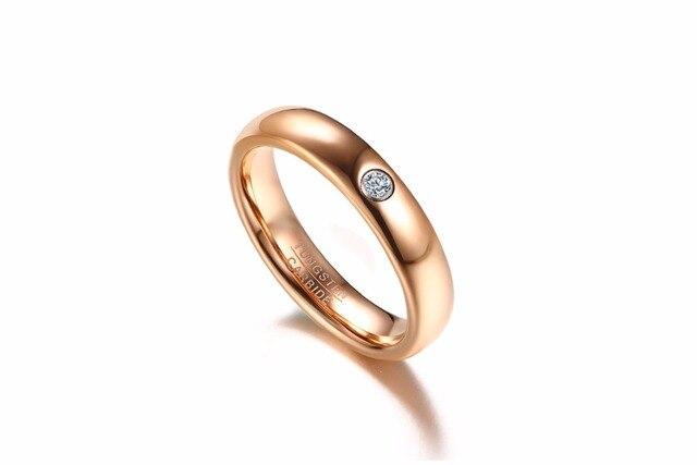 Женское кольцо из карбида вольфрама обручальное золотого цвета