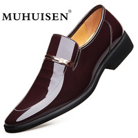 MUHUISEN Men Dress Leather Shoes Slip On Fashion Male Formal Oxford Shoes Flats Pointed Toe Casual