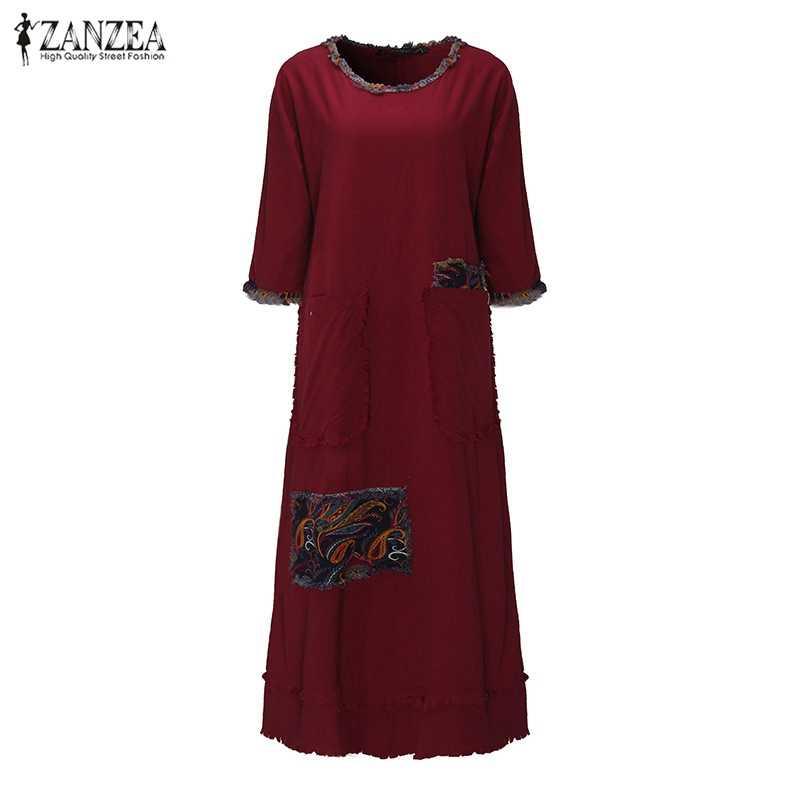 dbdc74f878e ... ZANZEA женское винтажное элегантное платье 2016 Осень с круглым вырезом  3 4 рукав карманы Сращивание