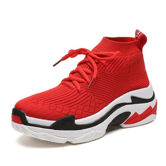 FEOZYZ Shark Sneakers Women Men Knit Upper Breathable Sport Shoes Chunky Shoes High Top Running Shoes For Men Women