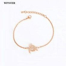 WFSVER Vintage Beach Turtle Bracelets For Women Fashion Stainless Steel Chain Wrap Bracelet Gifts Pulseira Feminina Jewelry