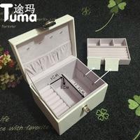 Caja de joyería de cuero de color sólido Simple Creativo De Madera exhibición de la joyería collar de caja de almacenamiento de Alta capacidad