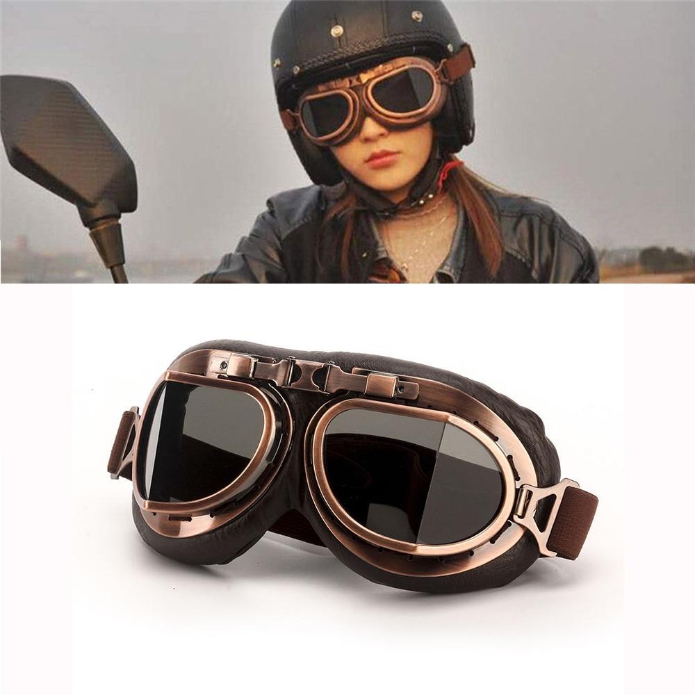 Motorcycle Retro Goggles Motorbike Bike ATV Chopper Cruiser UV Protection Pilot WWII Steampunk Helmet Glasses Smoke Lens