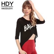 HDY Haoduoyi 2017 Fashion Women Sexy Solid Black Cropped T-Shirt Casual Letter Print Tops Cut Out O-neck Slim Summer T-Shirt letter print cut out leggings