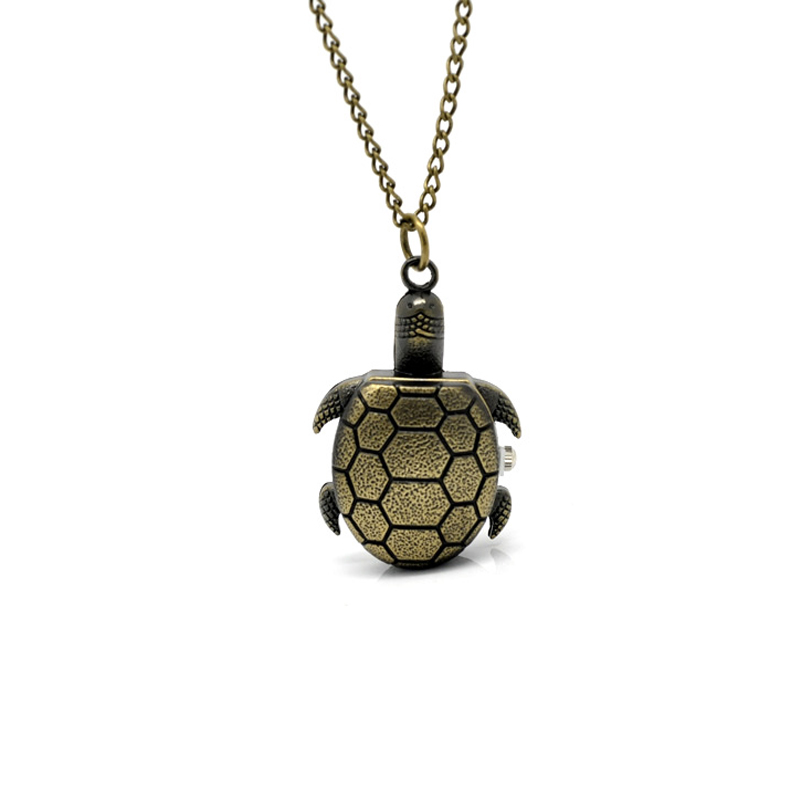 Tone Turtle Pattern Pocket Watches Women Men Creative Bronze Necklace Chain Quartz Clock For Ladies Women Mens Clock 87cm