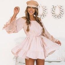 Lírio Rosie Menina Tassel Oco Out Mulheres Branco Vestido Fora Do Ombro Vestido de Festa de Verão Arco Sólido Doce Beach Dress Vestidos