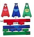 3 paquetes de PJ máscaras de Halloween Cosplay Traje de la Navidad Del Cabo & amp; amp; Máscara + 3 Sets Cinturón y brazalete de banda de Potencia