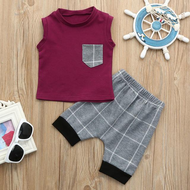 Popular Children's Clothes Set Infant Toddler Baby boys clothes Plaid Tops T Shirt Vest Shorts Outfits roupa infantil 3M-5T