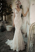 Sexy Beautiful Low Back Fishtail V Neck Sweep Train Lihi Hod Bridal 2014 Ivory Lace Wedding Gowns With Beadings MF408