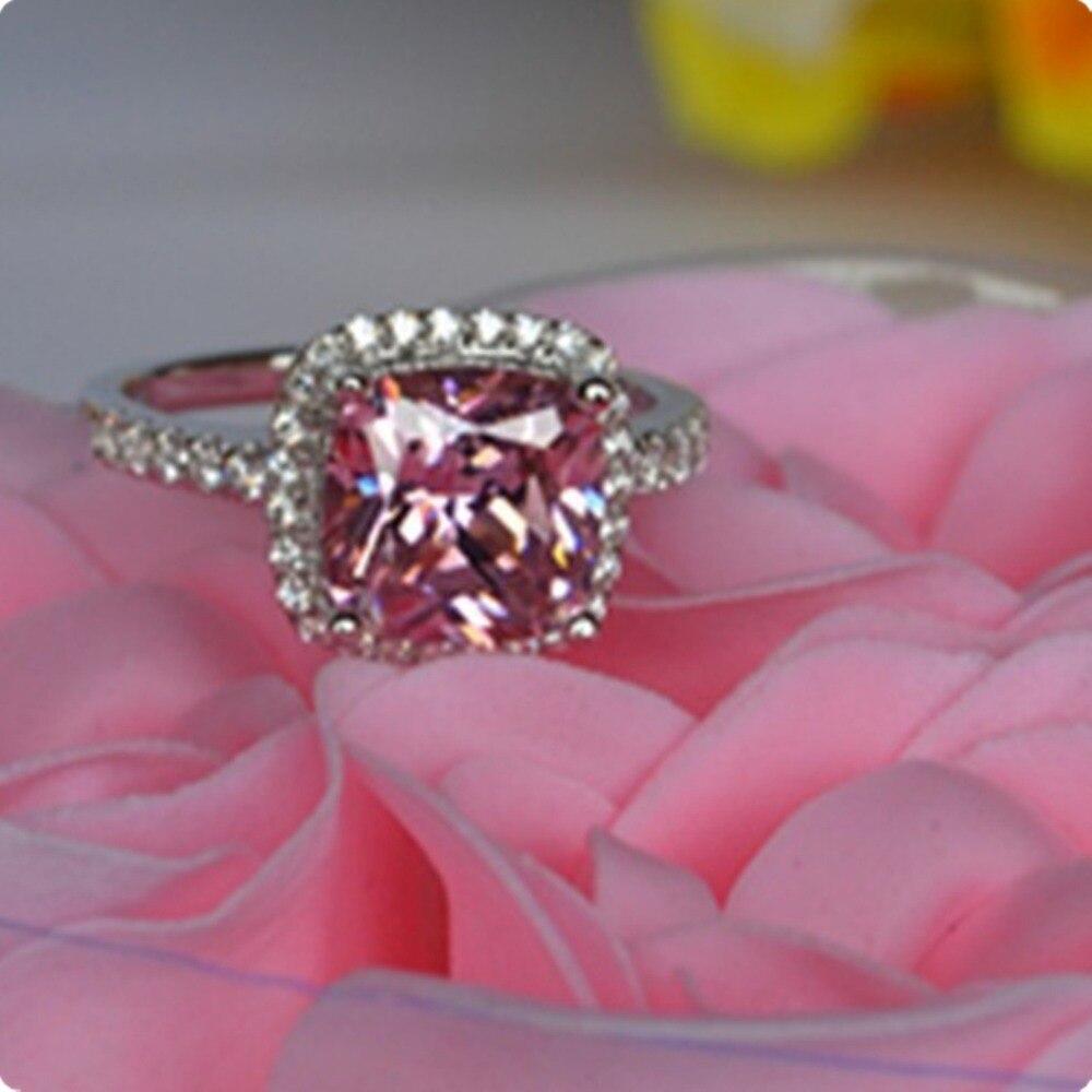 3 Carat Solid 18K White Gold Ring Princess Shape Cushion Pink ...