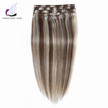 SHENLONG HAIR 100% Human Remy Straight   Hair Weaving  #P27/613 9pcs/set Mixed color Peruvian Clip In Hair Extensions Cheveux